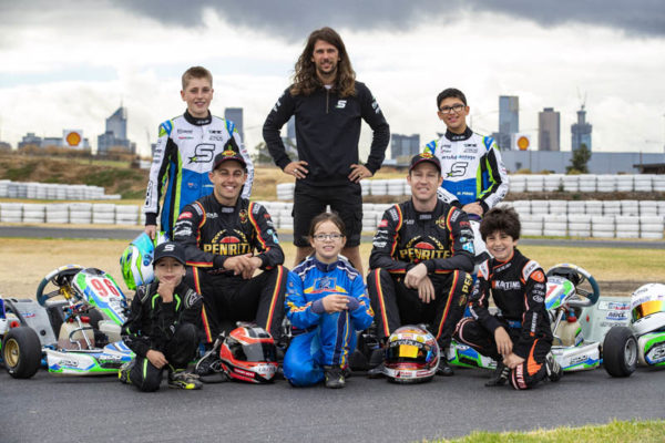 Supercars driver er David Reynolds and team mate Anton De Pasquale with young Karters from the Erebus Academy ahead of this weekends WD-40 Phillip Island SuperSprint Event 4 of the Virgin Australia Supercars Championship, Phillip Island, Victoria. Australia. 12th-14thth April 2019.  (L Top row) Jake Santlucia, David Sera, Marcus Pisani, (FL) Wilian Calleja, Anton De Pasquale, Mile Miller, David Reynolds and Bradly Majaman